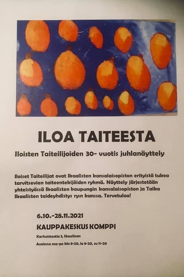Näyttelyjuliste, jonka yläosassa suorakaiteen muotoinen kuva maalauksesta, jossa on sinisellä pohjalla oransseja palloja.